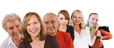 People group. Group of people - senior and women (white background Royalty Free Stock Photo