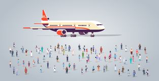 People group on airport terminal with aircraft flying plane different occupation employees mix race workers crowd vector illustration