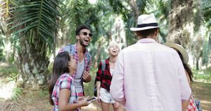 People Group With Backpacks Talking Using Cell Smart Phones, Men And Woman Laughing On Trekking In Tropical Palm Tree. Forest Slow Motion 60 stock footage