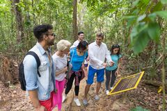 People Group With Backpacks Trekking On Forest Path With Giude Using Cell Smart Phone, Mix Race Young Men And Woman On Stock Photo