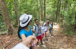 People Group With Backpacks Trekking On Forest Path Holding Hands Helping, Mix Race Young Men And Woman On Hike Tourists royalty free stock photography