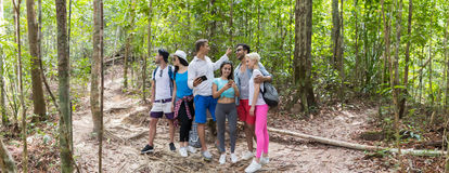People Group With Backpacks Trekking On Forest Path Using Cell Smart Phone Map, Young Men And Woman On Hike Stock Photos