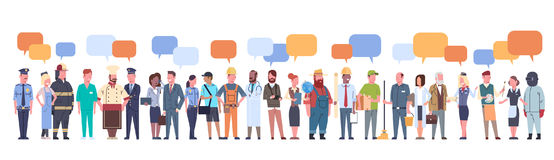 People Group With Chat Bubble Different Occupation Set Workers Profession Collection. Flat Vector Illustration Stock Photo