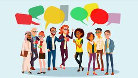 People Group Chat Vector. Business People. Communication Social Network. Social Group.Speech Bubbles. Illustration. People Group Chat Vector. Businesspeople vector illustration