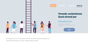 People group climbing career ladder way up new job opportunities teamwork progression concept flat copy space horizontal. Vector illustration royalty free illustration