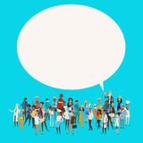 People Group Different Occupation Employees Mix Race Workers With Chat Bubble Network Communication Banner. Flat Vector Illustration Royalty Free Stock Photo