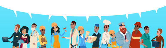 People Group Different Occupation Employees Mix Race Workers With Chat Bubble Network Communication Banner. Flat Vector Illustration Royalty Free Stock Image