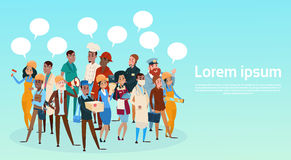 People Group Different Occupation Employees Mix Race Workers With Chat Bubble Network Communication Banner. Flat Vector Illustration Stock Photography