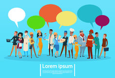 People Group Different Occupation Employees Mix Race Workers With Chat Bubble Network Communication Banner. Flat Vector Illustration Stock Images