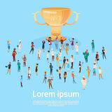 People Group Different Occupation Employees Prize Winner Cup, Team Success Concept Royalty Free Stock Photo