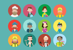 People Group Different Occupation Icon Set, Employees Mix Race Workers Banner. Flat Vector Illustration Stock Photos