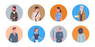 People Group Different Occupation Icons Set Workers Profession Collection Stock Photos