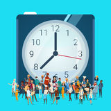 People Group Different Occupation Over Clock, Employees Mix Race Workers Banner Royalty Free Stock Image
