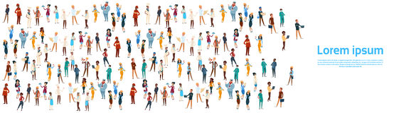 People Group Different Occupation Set, Employees Mix Race Workers Banner Royalty Free Stock Image