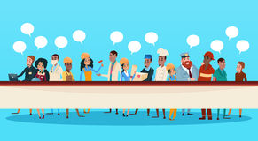 People Group Different Occupation Set, Employees Mix Race Workers Banner. Flat Vector Illustration Royalty Free Stock Image