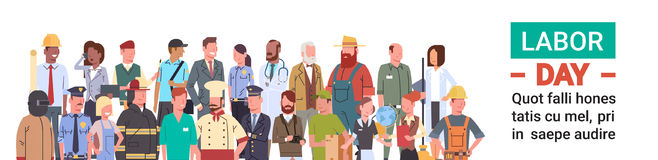 People Group Different Occupation Set, International Labor Day. Flat Vector Illustration Royalty Free Stock Photography