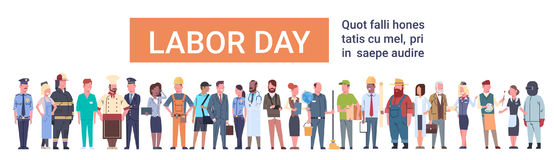 People Group Different Occupation Set, International Labor Day. Flat Vector Illustration Royalty Free Stock Images