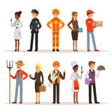 People group in different professions. Fireman, doctor and teacher. Builder, policeman and courier. Vector characters in Stock Photo