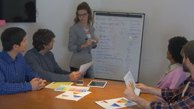 People group discussing new project with team colleagues stock video