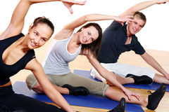 People group doing fitness exercises royalty free stock images