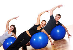 People group  doing fitness exercises Stock Photo