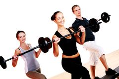 People group doing fitness exercises stock photography