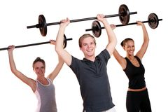 People group  doing fitness exercises Stock Photos
