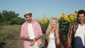 People group friends walking countryside road happy smile, summer. Sunny day stock video footage