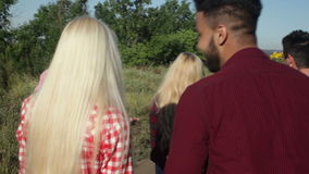 People group friends walking countryside road happy smile, summer stock video footage