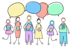 People Group With Gadget Chat Box Social Network Communication Concept Royalty Free Stock Photo