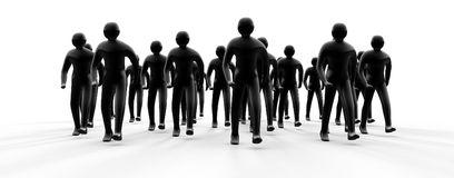 People group going forward 3d. People group going forward from light with shadow 3d Royalty Free Stock Image