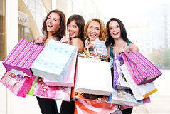 People  group happy with colored bags Royalty Free Stock Image