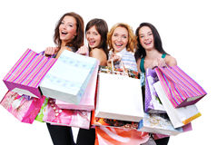 People Group Happy With Colored Bags Royalty Free Stock Photography