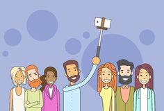 People Group Hipster Taking Selfie Photo On Smart Phone Stick Royalty Free Stock Images