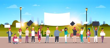 People group holding placards and megaphone cityscape background protesting concept full length cartoon characters crowd. Horizontal flat vector illustration vector illustration