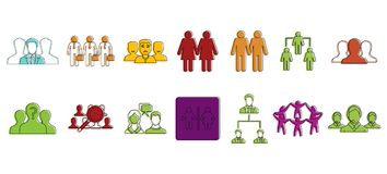 People group icon set, color outline style. People group icon set. Color outline set of people group vector icons for web design isolated on white background Royalty Free Stock Photography