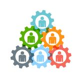 People in a Group of Gears Vector Illustration. People Group inside Gears in a TRiangle Shape Stock Image