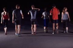People group jogging at night Royalty Free Stock Photo