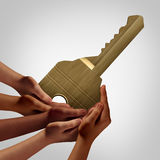 People Group Key. Access concept as diverse hands holding an object that unlocks as a teamwork solution metaphor or allowing accessibility symbol with 3D Stock Photography