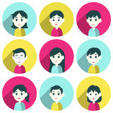 People group male and female. Faces avatars. flat style vector icons set Stock Illustration