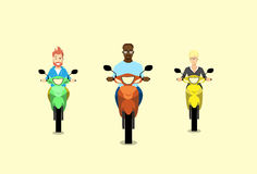 People Group Man Ride Motorcycle Scooter Stock Photo