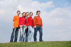 People group on meadow stock photography