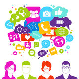 People Group Over Social Media Icons On White Background Network Communication Concept Stock Images