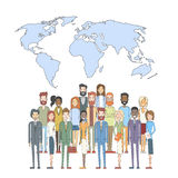 People Group Over World Map International Unity Social Communication Concept Stock Photos