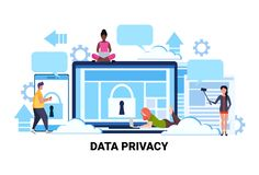 People group padlock computer screen data protection privacy concept team working process cyber security network safety. Personal information flat horizontal stock illustration