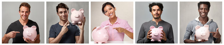 People group with piggy bank. Stock Photos