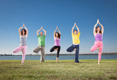 People in group  practice Yoga asana on lakeside. Yoga concept Stock Photography