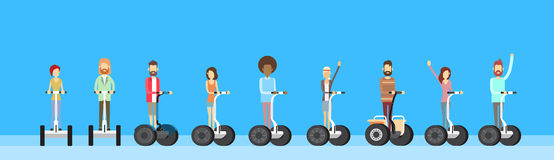 People Group Ride Segway Electric Scooter Royalty Free Stock Photography