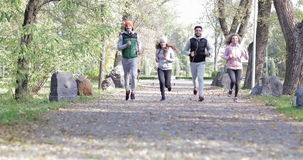 People Group Run Park Young Active Fitness Runner Exercising Outdoor Sport Man And Woman Jogging Morning stock video footage