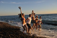 People group running on the beach Royalty Free Stock Photo